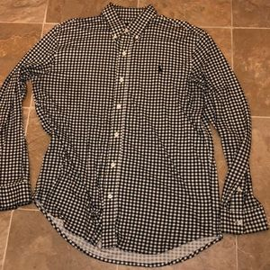 Black and white plaid Polo shirt